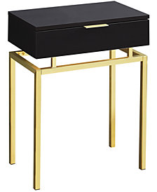 "Monarch Specialties in Gold Metal 24""H Side  Accent Table in  Cappuccino"