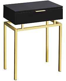 """Monarch Specialties in Gold Metal 24""""H Side  Accent Table in  Cappuccino"""