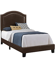 Bed - Twin Size Leather-Look With Brass Trim