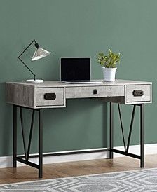 "Wood Grain 49""L Computer Desk in Grey"