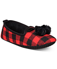Charter Club Buffalo Plaid Memory Foam Slippers, Created for Macy's