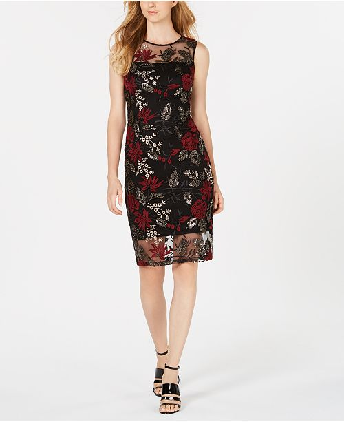 e1fc82c3 ... Calvin Klein Sequined Floral Embroidered Illusion Sheath Dress ...
