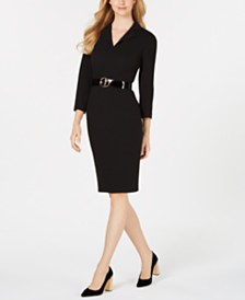 Calvin Klein Petite Belted Notch-Collar Dress