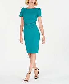 Calvin Klein Puff-Sleeve Stretch Sheath Dress