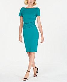 Calvin Klein Puff-Sleeve Stretch Sheath Dress