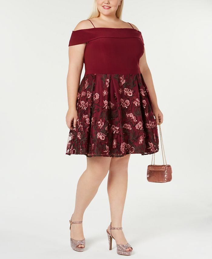 Morgan & Company - Trendy Plus Size Off-The-Shoulder Dress