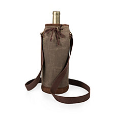 Picnic Time Waxed Canvas Wine Tote, (Khaki Green)
