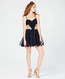 Blondie Nites Juniors' Embellished Appliqué Fit & Flare Dress