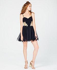 Blondie Nites Juniors' Embellished Appliqué Fit & Flare Dress