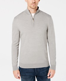 Club Room Men's Regular-Fit 1/4-Zip Merino Sweater, Created for Macy's