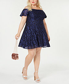 Morgan & Company Trendy Plus Size Off-The-Shoulder Lace Dress