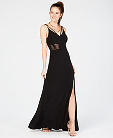 Morgan & Company Juniors' Illusion-Trim Gown