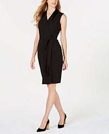 Calvin Klein Velvet-Collar Wrap Dress