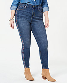 Seven7 Trendy Plus Size Embroidered Skinny Jeans
