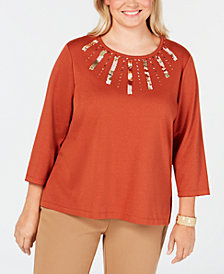Alfred Dunner Plus Size Autumn in New York Embellished Appliqué Knit Top