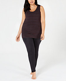Cuddl Duds Plus Size Softwear Tank Top & Lace-Trim Leggings
