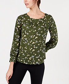 NY Collection Petite Printed Button-Shoulder Top