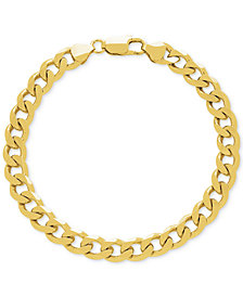 Curb Link Wide Chain Bracelet in 18k Gold-Plated Sterling Silver