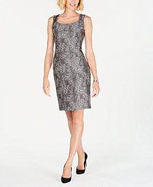Kasper Metallic Jacquard Sheath Dress