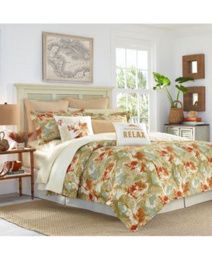 Tommy Bahama Home Loredo Gardens 4-Pc. Medium Orange Queen Comforter Set Bedding 6862790