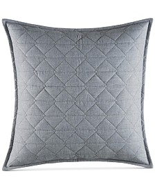 "Nautica Clearview Heather Gray Quilted 18"" Square Flannel Decorative Pillow"