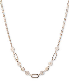 """DKNY Gold-Tone Link & Pavé Disc Collar Necklace, 16"""" + 3"""" extender, Created for Macy's"""