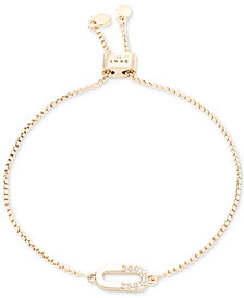 DKNY Gold-Tone Pavé Link Slider Bracelet, Created for Macy's