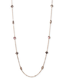 "DKNY Gold-Tone Crystal 42"" Strand Necklace, Created for Macy's"
