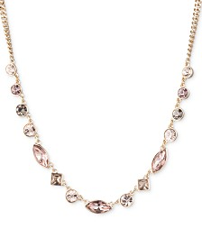 "DKNY Gold-Tone Crystal Collar Necklace, 16"" + 3"" extender, Created for Macy's"