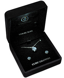 Giani Bernini 2-Pc. Recordable Light Up Box Set Cubic Zirconia Pendant Necklace & Stud Earrings in Sterling Silver, Created for Macy's