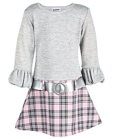 Blueberi Boulevard Toddler Girls Sweater-Knit Plaid Dress