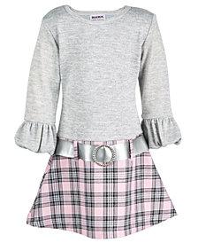 Blueberi Boulevard Toddler Girls Sweater-Knit Plaid Dress
