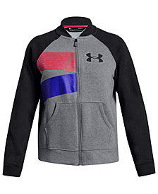 Under Armour Big Girls Rival Logo-Print Zip-Up Bomber Sweatshirt