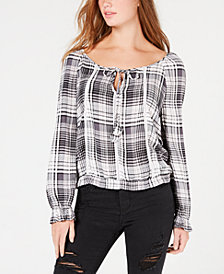 American Rag Juniors' Plaid Crisscross Peasant Top, Created for Macy's