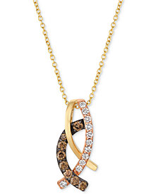 "Le Vian Chocolatier® Diamond Looped 18"" Pendant Necklace (1/3 ct. t.w.) in 14k Gold"