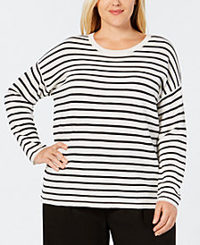 Eileen Fisher Plus Size Merino Wool Striped Sweater