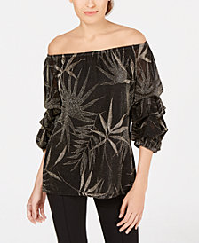 MSK Petite Metallic-Print Off-The-Shoulder Top