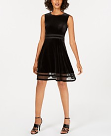 Calvin Klein Velvet Illusion A-Line Dress