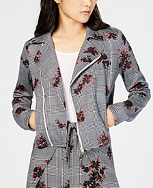 Material Girl Juniors' Printed Moto Jacket, Created for Macy's