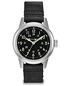 LIMITED EDITION Bulova Men's Hack Black Leather Strap Watch 38mm, Created for Macy's - A Limited Edition