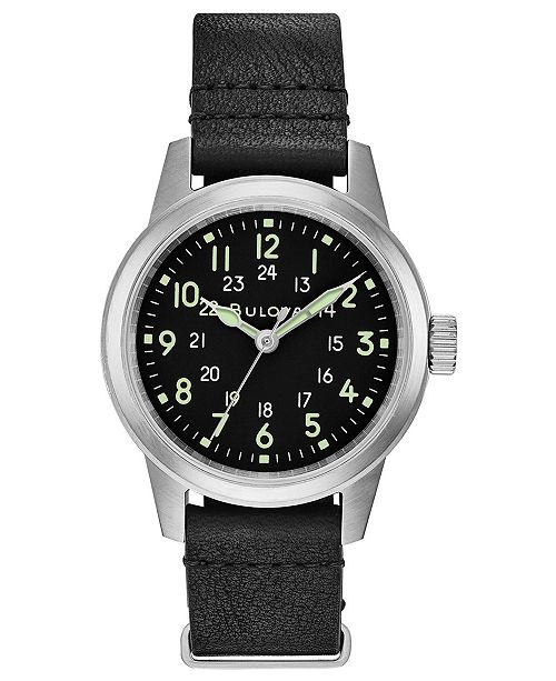 Bulova LIMITED EDITION Men's Hack Black Leather Strap Watch 38mm, Created for Macy's - A Limited Edition