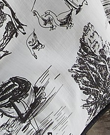 "Toile Back in Black Bedskirt 15""-Queen"
