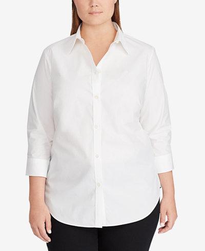 Lauren Ralph Lauren Plus Size Stretch Shirt