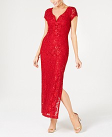 Petite Sequined Lace Column Gown