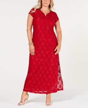 Vintage Christmas Gift Ideas for Women Connected Plus Size Sequined Lace Gown $80.99 AT vintagedancer.com