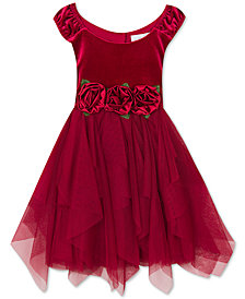 Rare Editions Little Girls Rose-Trim Velvet Dress