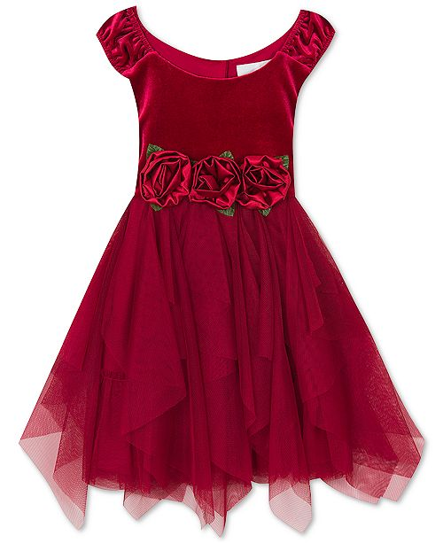 e5ff750a7 Rare Editions Little Girls Rose-Trim Velvet Dress   Reviews ...