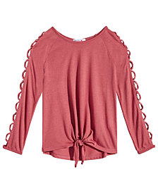 Beautees Big Girls Cage-Sleeve Front-Tie Shirt