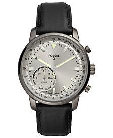 Fossil Q Men's Goodwin Black Leather Strap Hybrid Smart Watch 44mm