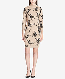 Calvin Klein Printed Mock-Neck Sweater Dress